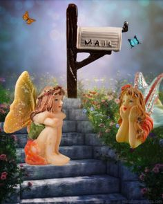 Two little fairies gather under a mailbox in the fairy gardens.