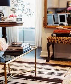 LOVE the stool! Little pop of leopard print, done very tastefully. I have a stool like this, and TOTALLY see a project in the works!