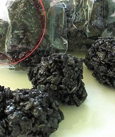 Coal for Christmas (rice krispies with black food coloring)