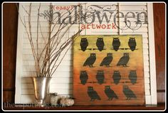 Ombre Owl Wall Art (from Dollar Store Halloween decor) - by the V Spot