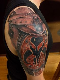 Gladiator armour shoulder tattoo