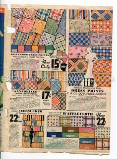 Old fabric ad from Summer 1935 Chicago Mail Order Company catalog