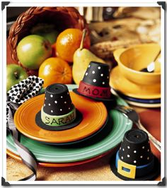 """Thanksgiving Terracotta Pilgrims Hat """"placecards"""" ~ You can also make a large version of this Pilgrim hat for a centerpiece"""