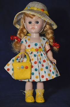 "Vintage 8"" Vogue Ginny Doll in Tagged Dress Bent Knee Walker"