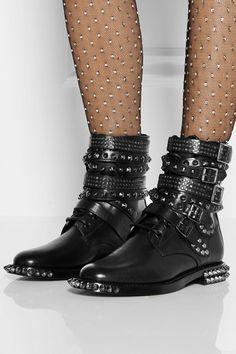 Shop Saint Laurent Signature Rangers Studded Leather Boots