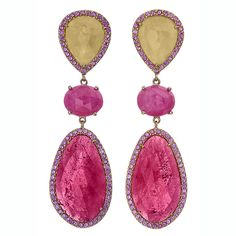 Shawn Warren Pink and Yellow Sapphire Drop Earrings