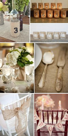 love the white flowers & burlap wrapped on a square vase