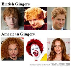 Yummm, to the top row obviously. ginger funny, british ginger, americans funny, giggl, funni, hahahahahahaha, british american, gingers, american ginger