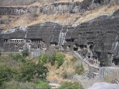 The Ajanta caves are monuments cut out of rock which date from the 2nd century BCE to 600 CE. The caves include religious paintings and sculptures of Buddhism. The caves fall into the idea of a Vihara, which is the Buddhist idea of a Monestary/'quiet place to walk'. The cave contains several frescoes and narrative paintings, which is something that we've looked at  as far back as Lascaux caves as well as in much more modern times.