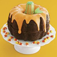 Stack two bundt cakes to create a pumpkin