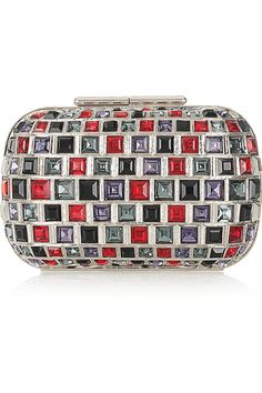 Jimmy Choo-Claire silver-tone brass & crystal clutch