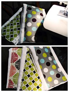 Custom Burp Cloths:These are really easy to make. You just buy cloth diapers and then 1/8 yard of fabric. I cover the padded area in the middle. I'll iron the fabric and fold all the edges under.Then I'll just sew the edges. Pretty simple