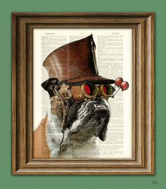 books, cat, french bulldogs, illustrations, english bulldogs, art prints, book pages, beret, dog art