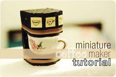 DIY Miniature Coffee Maker #diy #crafts #dollhouse #miniatures #coffee_maker