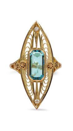 Victorian aquamarine ring