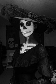 la catrina costume | Makeup is Ben Nye white and black cake, plus creme pencil for the face ...