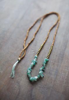 Mixed Media Boho Necklace / Green Golden Brown by BlueBirdLab