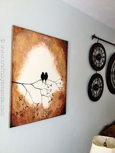 Beautiful Birds on a Branch Silhouette Painting using acrylic paint! @Amanda Formaro CraftsbyAmanda.com