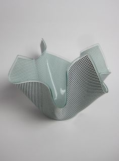 Vintage 1950s/1960s Black & White Glass Chance Handkerchief Vase £25