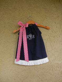 Monogrammed Navy Pillowcase Dress  sizes 3m to 6T by theuptownbaby, $32.00