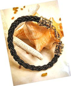 """Thick Black Braided Leather Bracelet with Heavy Silver Clasp """"FREE SHIPPING""""  by LeatherDiva, $33.00 men bracelet, wrap bracelets, leather bracelets"""