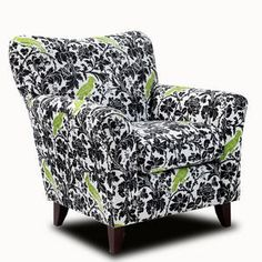 fusion 447, green, accent furnitur, floral chair, chair 447, accent chairs, birds, black, decor idea