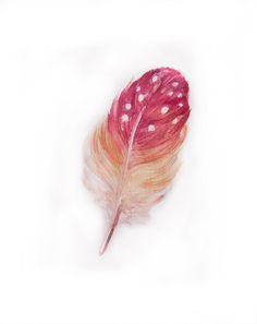 Watercolor painting-Feather painting in watercolor-Watercolor feather in pink and yellow. $18.00, via Etsy.