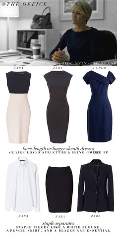 Claire's business wardrobe. And Mine. Yes, yes, yes.