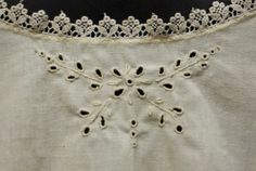 1912 inspired open work eyelet embroidery