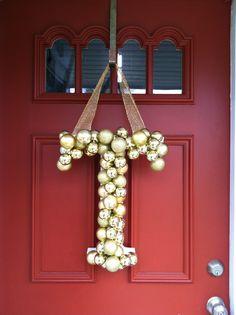 baby christmas crafts, door decorations monogram, christmas wreaths, door hangings, glitter door hanging, crafts with christmas bulbs, christmas decor initials, monogram door, christmas door