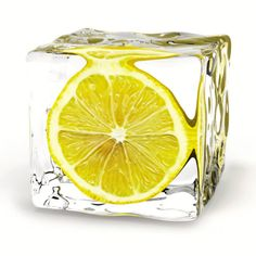 Lemon Ice Cube - use boiled water and the cubes will remain clear after being frozen lemons, glass wall, ice cubes, food, cocktail, iced tea, lemon ice, drinks, parti