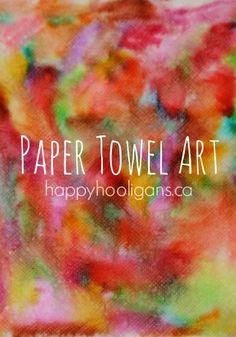 paper towel art - happy hooligans - colour bleeding - markers & water towel art, art crafts, water art for kids, colorful crafts, paper arts and crafts for kids, abstract art, marker, paper towel, art projects