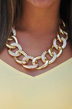 Love this chunky chain #necklace with a touch of extra glamour!  - Just To Be Clear Necklace: Gold #jewelry