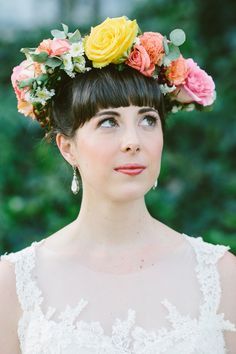 spring floral crown, photo by Lad & Lass http://ruffledblog.com/villa-paradiso-wedding #weddinghair #floralcrown