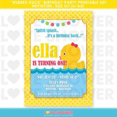 Rubber Duck Birthday Invitation  5x7 4x6  Printable  by LoveShower, $10.00
