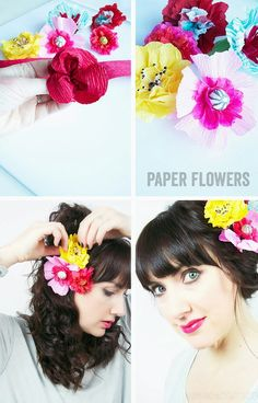 tissue paper flowers, hairpin, crepe paper