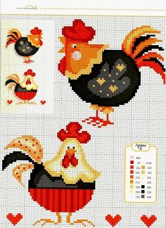 Cross stitch chickens.....(got to stitch these! sew cockle-doodling cute!!)...