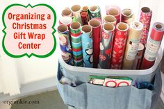 Organizing a Christmas Gift Wrap Center with 50% off coupon! via @Laura Jayson Jayson (I'm an Organizing Junkie)