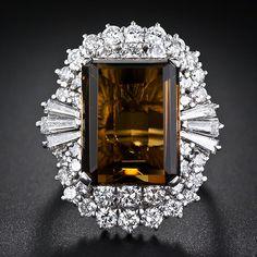 Smoky Quartz and Diamond Cocktail Ring - drop dead gorgeous