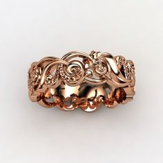 Rose gold scroll ring