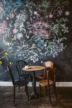 floral chalkboard, design homes, chalkboard walls, chalkboard paint, inspiring cafes, cafe art, line art, chalk art, art walls