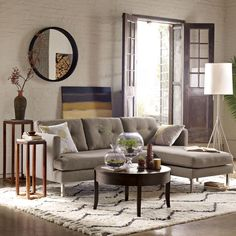 souk rug~ west elm~ love the pattern. also like the side tables, saw something similar at target.