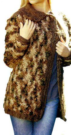 tejidos artesanales en crochet: sacon matizado (talle small)