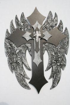 """Angel wing Faux finish Cross with engraved Fleur De Lis's by davinciandvine,  23""""H 17"""" W angel wings, finish cross, wing cross"""