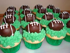 Oreo Truffle Football Cupcakes super bowl, mixing bowls, chocolate chips, footbal cupcak, cupcakes, food, oreo truffles, sandwich cookies, football birthday