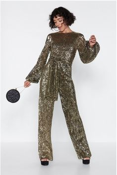 Disco Gold Jumpsuit Party Dress