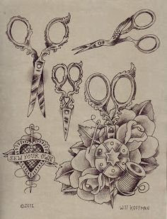 Will Koffman Tattoo: New Tattoo Design Flash Sheets, Crafty Scissors and Apocalypse tattoo designs