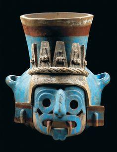 Aztec god Tlaloc ceramic face pot, Templo Mayor, Mexico. Between between AD 1325-1521.