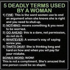 5 Deadly Terms Used By A Woman  |  @Popgazine  |  #Women #Humor (I wasn't sure which board to put in, but it's funny) the Wow is right on!