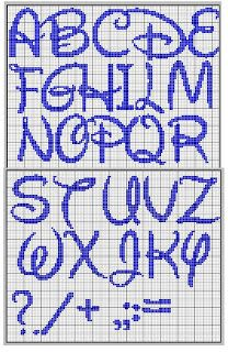 Disney font cross stitch chart alphabet with punctuation
